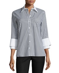 Michael Kors Collection 3 4 Sleeve Double Cuff Striped Shirt Black White Women's Size 2