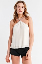 Urban Outfitters Uo Flowing Plisse Halter Tank Top Ivory