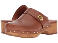 Coach Turnlock Clog Saddle Leather Shoes Brown