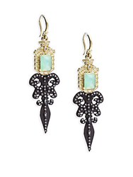 Armenta Old World Diamond Sapphire Chrysoprase Rainbow Moonstone 18K Yellow Gold And Sterling Silver Fleur De Lis Earrings