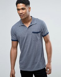 Esprit Open Collar Polo Shirt With Tipped Pocket Navy