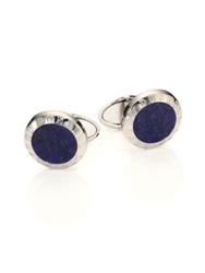 Dunhill Sodalite And Sterling Silver Cuff Links Silver Blue