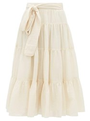 Loup Charmant Demeter Tiered Cotton Midi Skirt Ivory