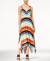 American Rag Printed Empire Waist Handkerchief Hem Maxi Dress Only At Macy's Ochre Combo
