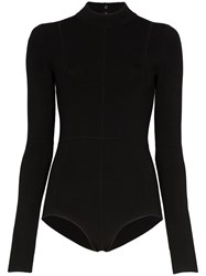 Helmut Lang Cut Out Fitted Bodysuit Black
