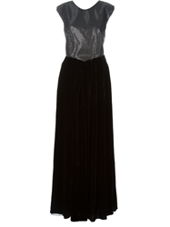 Emporio Armani Contrasting Cutout Back Beaded Front Dress Black