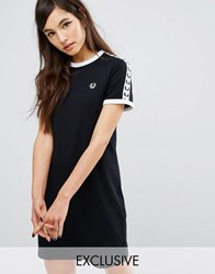 Fred Perry Archive Taped Ringer T Shirt Dress Black