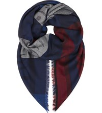 Kenzo Striped Tiger Head Scarf Red Blue White