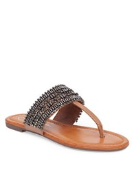 Jessica Simpson Rollison Rhinestone Embellished Thong Slide Sandals Brown