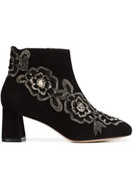 Sophia Webster Floral Patch Ankle Boots Black