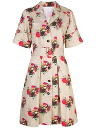 Adam By Adam Lippes Floral Print Belted Dress Brown