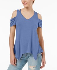 Almost Famous Juniors' Strappy Cold Shoulder Top Blue