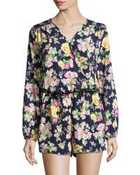 Neiman Marcus Floral Print Long Sleeve Short Jumpsuit Navy Multi