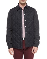 Salvatore Ferragamo Quilted Flannel Snap Front Jacket Charcoal