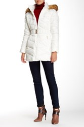Jessica Simpson Belted Faux Fur Trimmed Jacket White