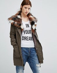 Urbancode Parka With Patchwork Faux Fur Hood Green