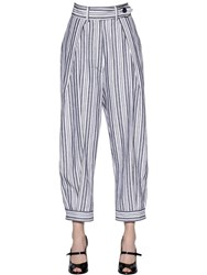 Sportmax Pleated Cotton And Linen Canvas Pants