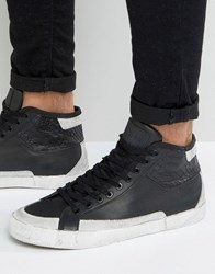 Religion Uptown Hi Top Leather Trainers Black