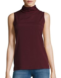 French Connection Sleeveless Turtleneck Top Biker Berry