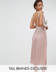 Tfnc Tall Wedding Embellished Open Back Midi Prom Skater Dress Mauve Pink