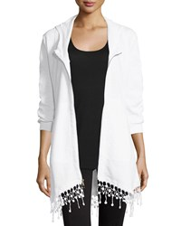 Xcvi Crochet Hem Zip Front Jacket White