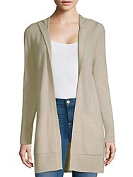 Saks Fifth Avenue Hooded Open Front Cashmere Cardigan Oatmeal Heather