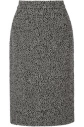 Dolce And Gabbana Woven Herringbone Wool Blend Skirt Black
