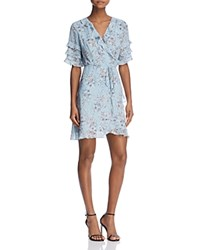 Aqua Ruffled Floral Print Wrap Dress 100 Exclusive Light Blue