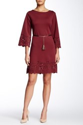 Sharagano Laser Cut Faux Leather Tassel Dress Red