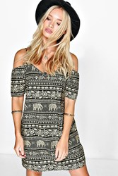 Boohoo Elephant Print Open Shoulder Dress Multi