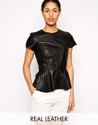 Muubaa Aquila Peplum Leather Shirt Black