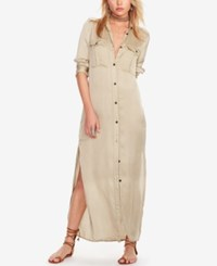 Denim And Supply Ralph Lauren Satin Military Shirtdress Faded Olive