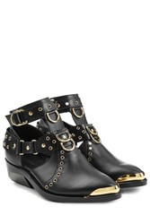 Balmain Leather Ankle Boots Black