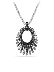 David Yurman Tempo Pendant Necklace With Black Spinel Silver