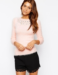 Michelle Keegan Loves Lipsy Fluffy Jumper With Jewel Embellished Neck Pink