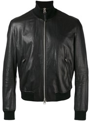 Tom Ford Leather Bomber Jacket Black