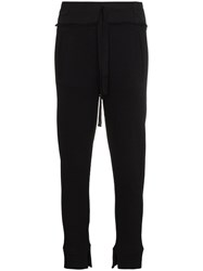 Ann Demeulemeester High Waisted Ribbed Track Pants Black