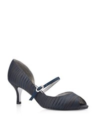 Adrianna Papell Janet Striped Peep Toe Heels Navy Blue