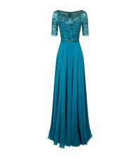 Jenny Packham Embellished Bodice Gown Female Blue