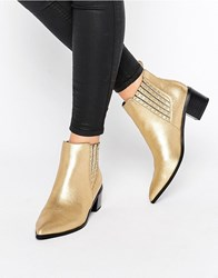 Office Amber Stud Metallic Leather Heeled Chelsea Boots Gold Metallic