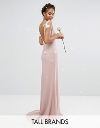 Tfnc Tall Wedding High Neck Maxi Dress With Embellished Low Back Mauve Pink