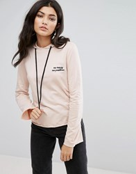 Daisy Street Cropped Lightweight Hoodie With Mo Money Mo Problems Embroidery Pink