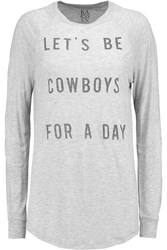 Zoe Karssen Let's Be Cowboys Printed Jersey Top Gray