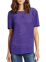 Joie Riley Silk Laser Cut Tee Deep Blue