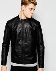 Jack And Jones Jack And Jones Faux Leather Jacket With Quilted Sleeves Black