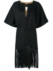 Agnona Fringed Coat Black