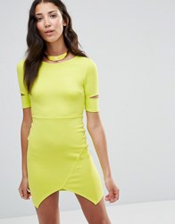 Twin Sister Bodycon Dress With Cut Out Sleeves Lime Yellow