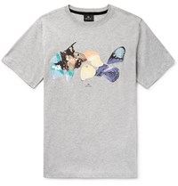 Paul Smith Ps By Printed Organic Cotton Jersey T Shirt Gray