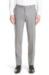 Canali Men's Big And Tall Flat Front Solid Stretch Wool Trousers Grey