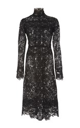 Costarellos Embroidered Cut Lace High Neck Dress Black
